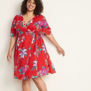 Old Navy Faux-Wrap Waist-Defined Plus-Size Dress